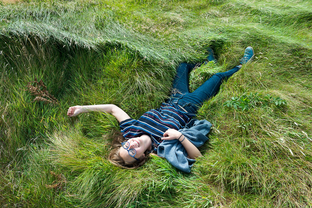 Art Student lying in grass